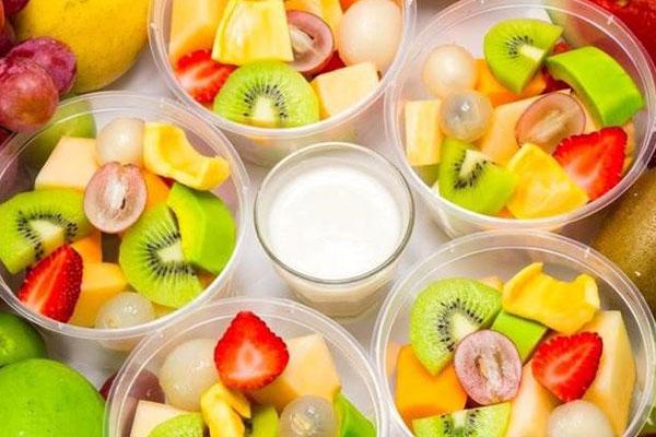 trái cây tô món chay ăn vặt