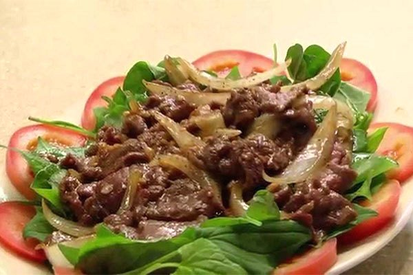 rau diếp xào thịt bò