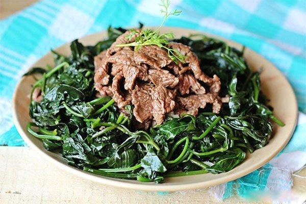 rau lang xào thịt bò