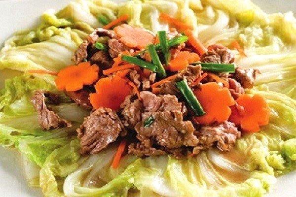 thịt bò xào rau cải thảo