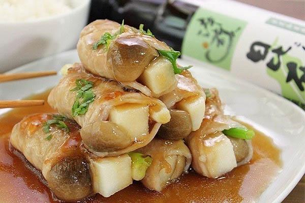 món ngon với thịt lợn cuộn măng nấm