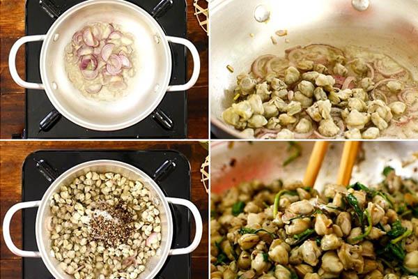 cách nấu cơm hến quảng ngãi